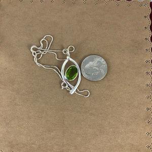 Gem Emporium Jewelry - 6CT Peridot 925 Silver Pendant 16 in Box Chain